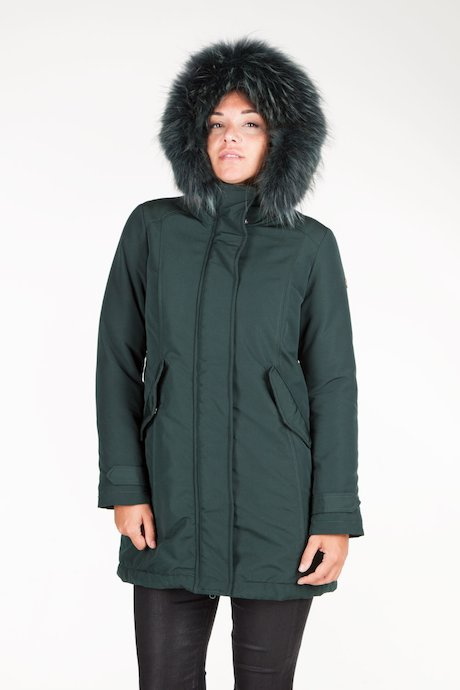 Parka with real fur hood border