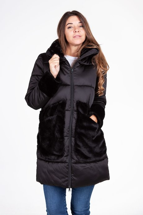 Oversize down jacket with fake fur inserts