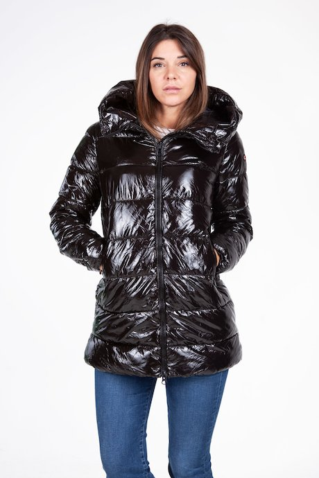 Long lacqué down jacket