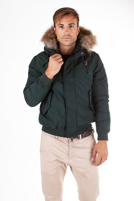 Bomber with real fur hood border