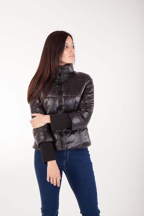 Short Down Jacket with High Collar