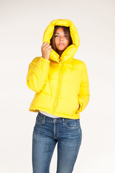 Short down jacket hood oversize