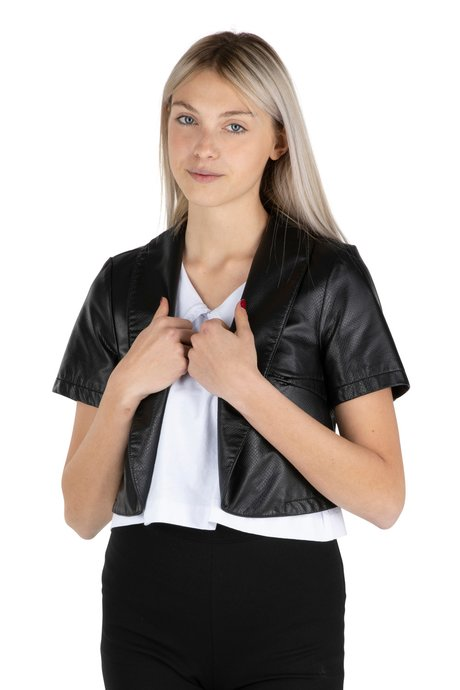 Short Sleeve Python Faux Leather Jacket