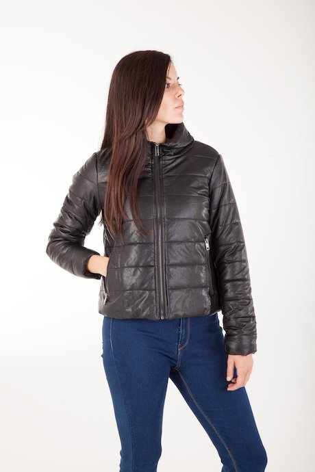 Faux Leather Down Jacket Lean