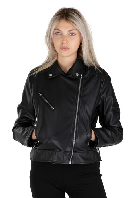 Faux leather jacket with print lining