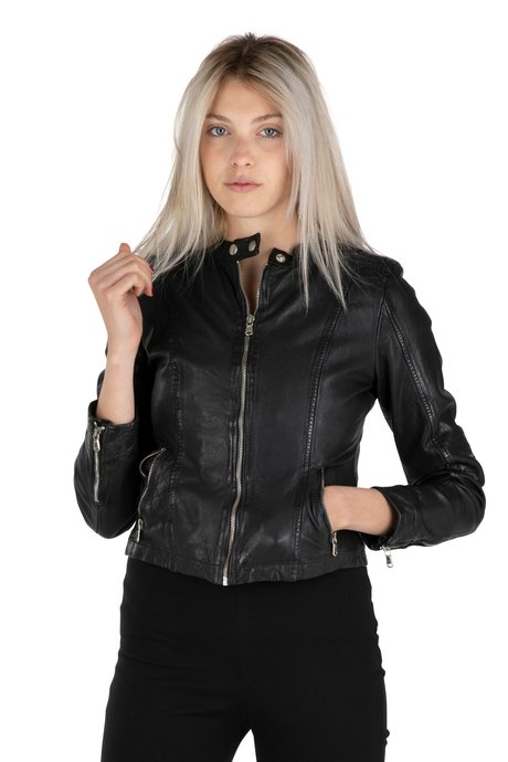 Real leather jacket with asymmetrical closure