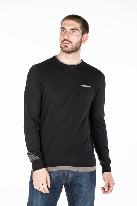 Round Collar Sweater with Pocket