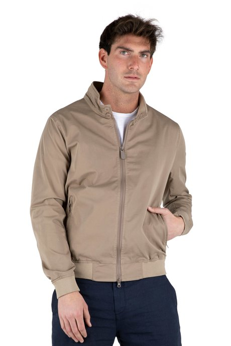 Cotton jacket with ribbed bottom