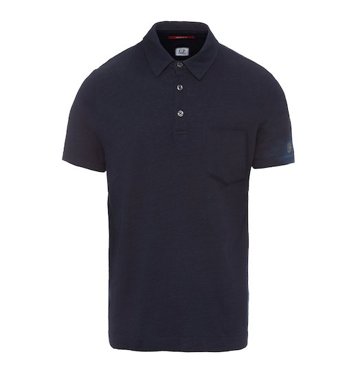 WASHED INDIGO JERSEY POCKET SS POLO