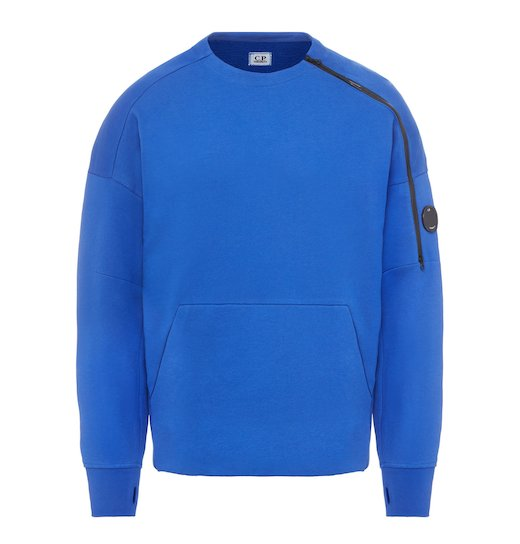 DIAGONAL FLEECE LENS ZIP CREW NECK SWEATSHIRT