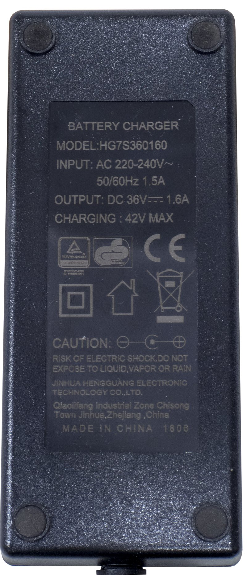 PC.BATTERBE.102 - BATTERY CHARGER FOR ELECTRIC ASSISTED BIKES E2000, E3000, E3100, E3500, E3600, E3700, E4000, E4400, E4500, E4600, E8000, E8100, E8200