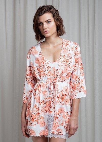Kimono in viscosa stampata - Nero