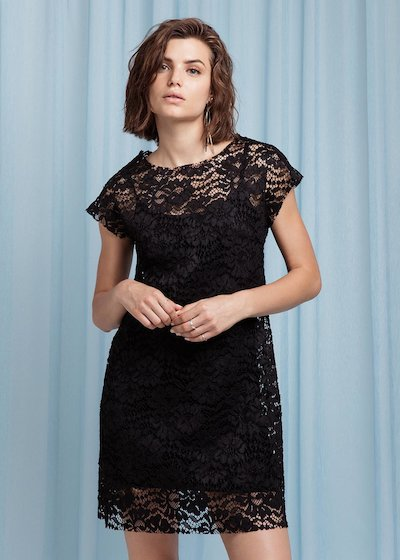 Lace dress with Parisian - Black