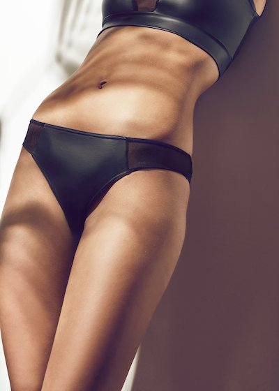 Brazilian tulle and faux leather - Black