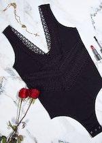 Body épaule large en coton et dentelle