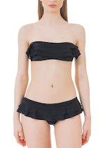 Brazilian bandeau bikini with ruffles.