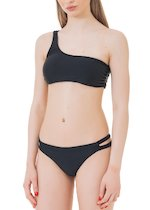 One shoulder and Brazilian bandeau bikini with double side panels.