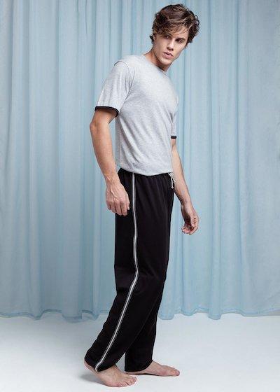 Pyjama en coton avec T-shirt à manches courtes et pantalon long - Noir