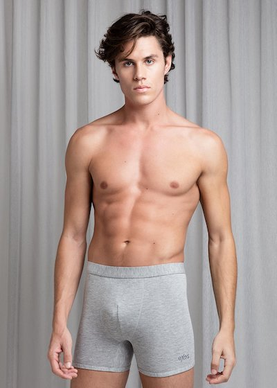 Bielastic cotton boxer with covered elastic band - Blue Marine