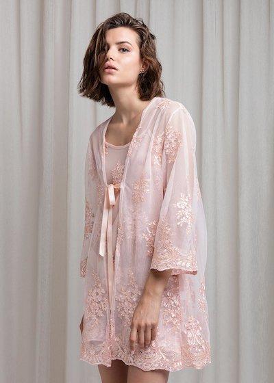 Kimono en tulle festonné