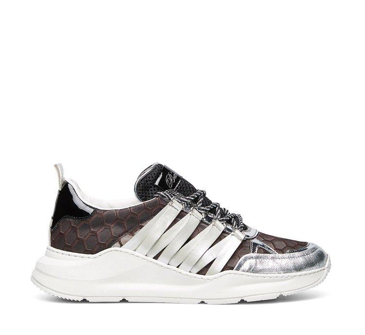 Barracuda fabric and calfskin sneakers
