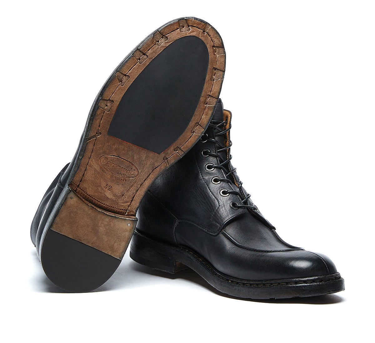 Barracuda vintage commando boots in luxury calf leather