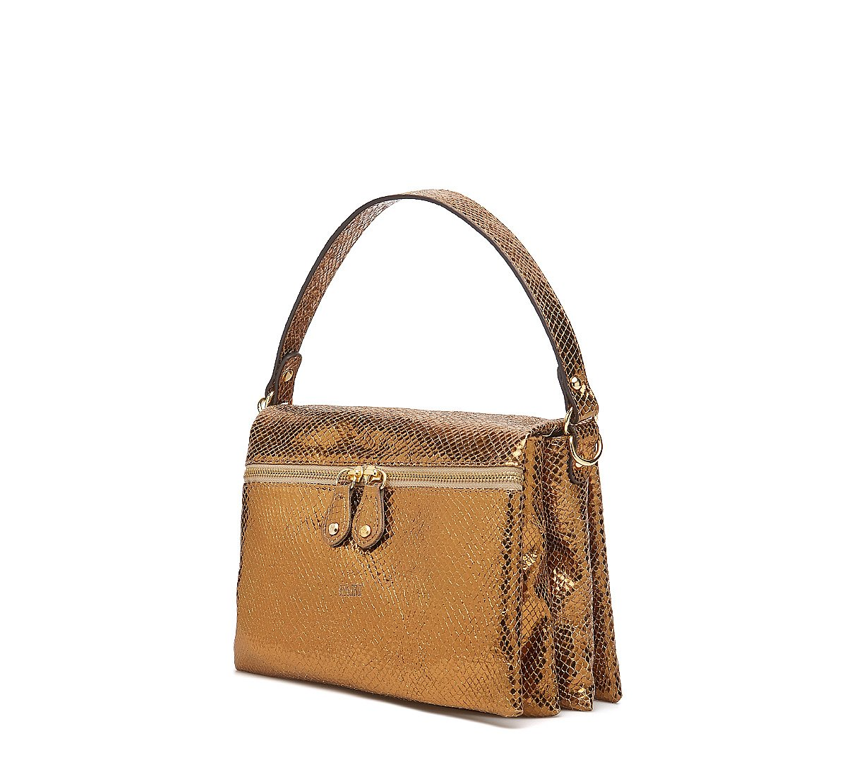 City bag in laminated calf leather