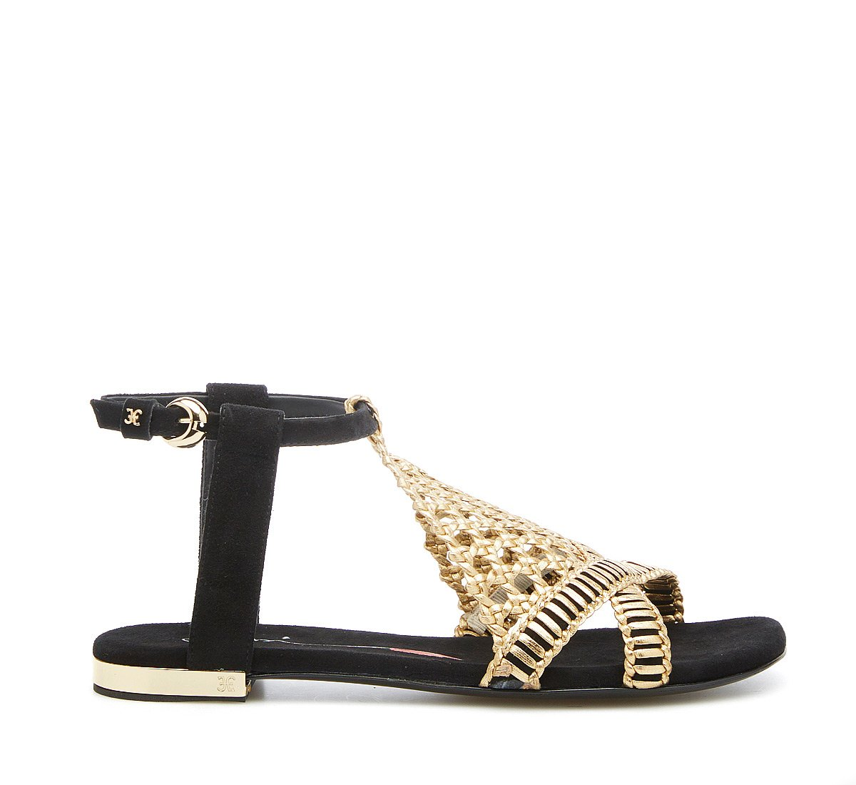 Sandalo flat in camoscio