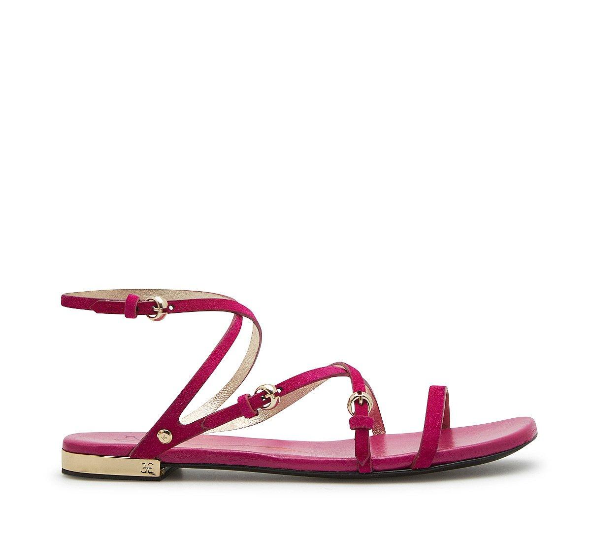 Sandalo flat in morbido suede