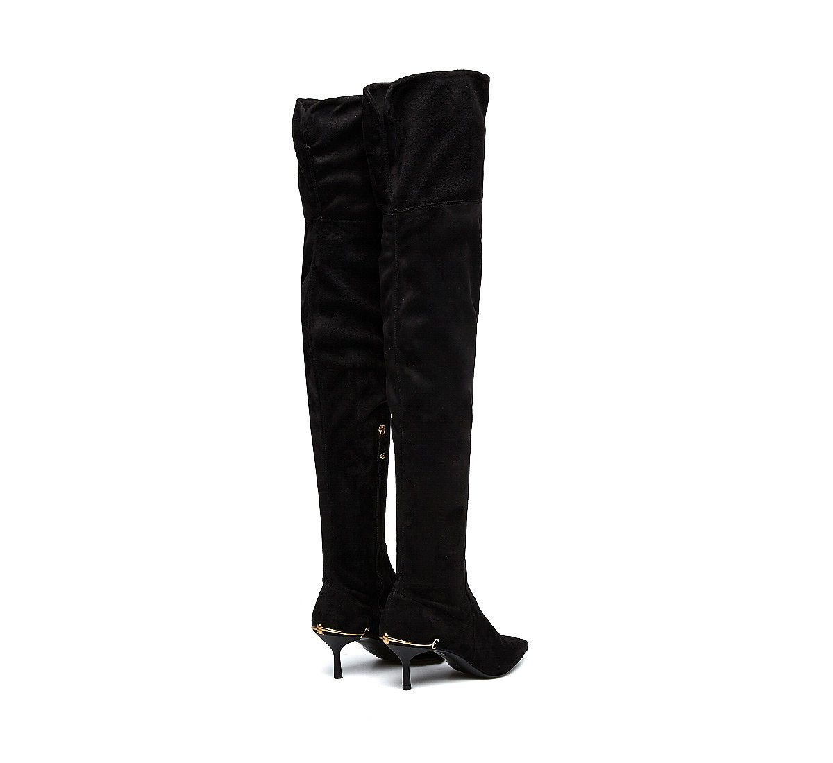 Thigh-high boots in soft suede