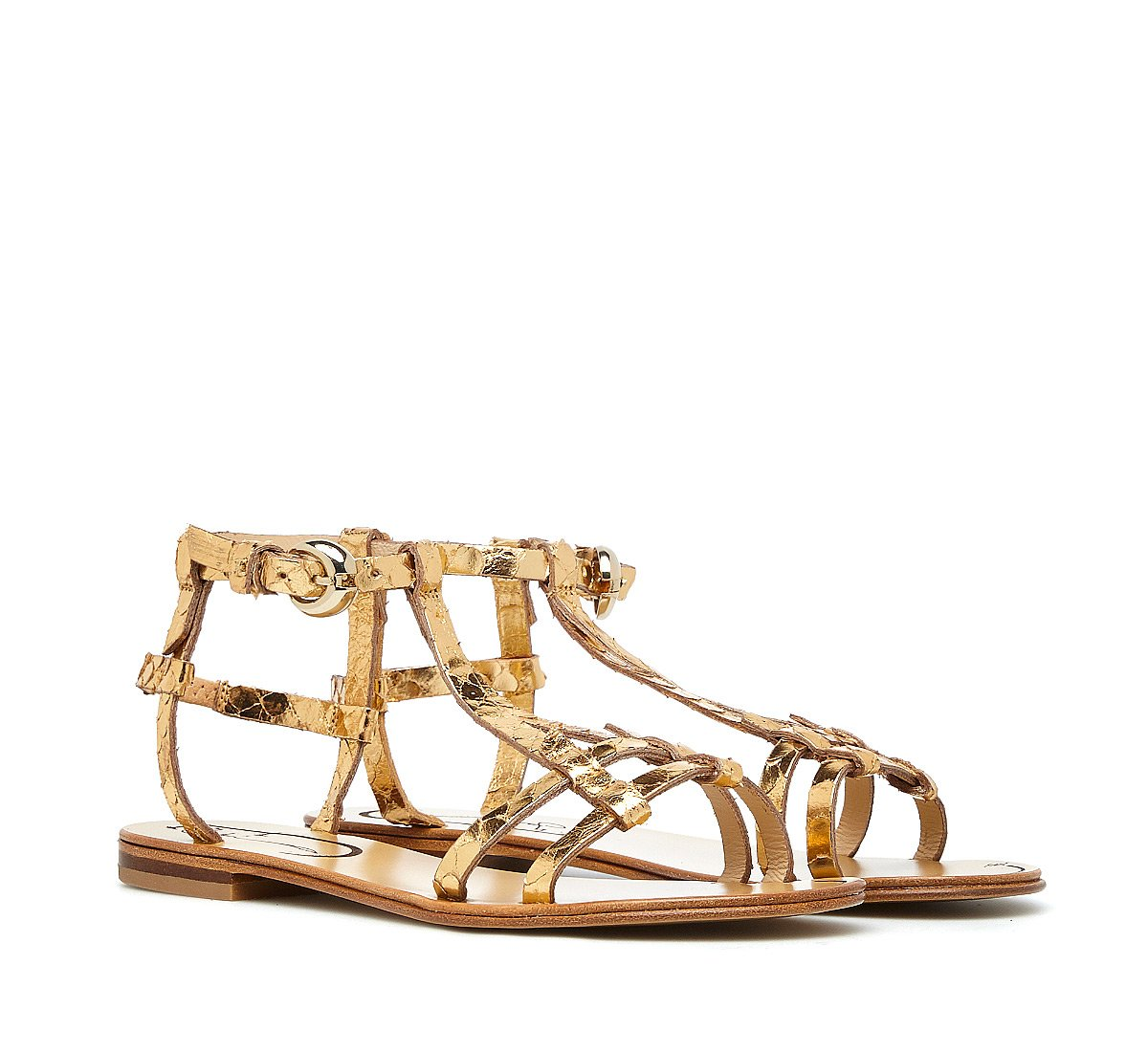 Sandals in soft, reptile-print calfskin