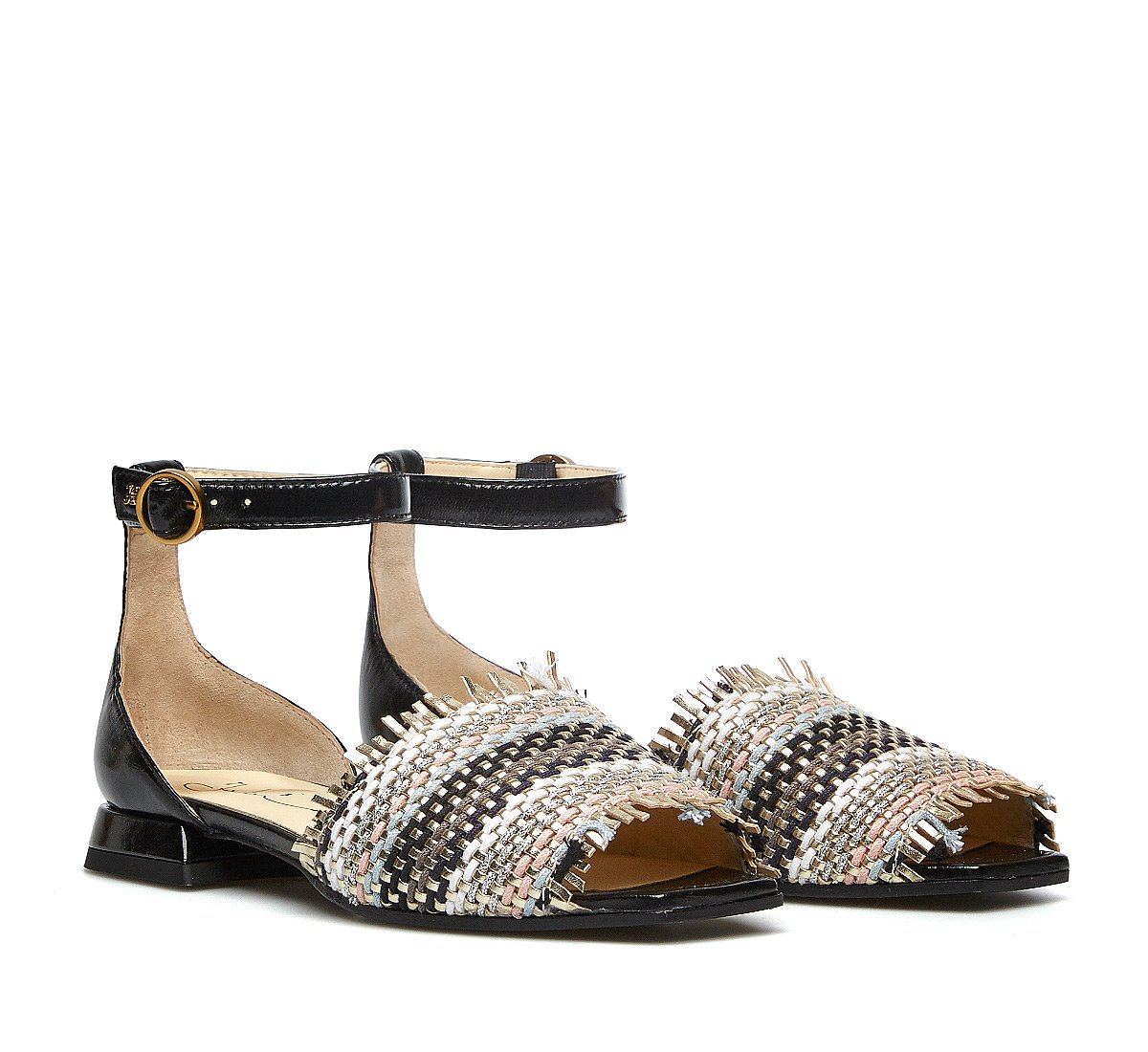 Woven fabric sandals