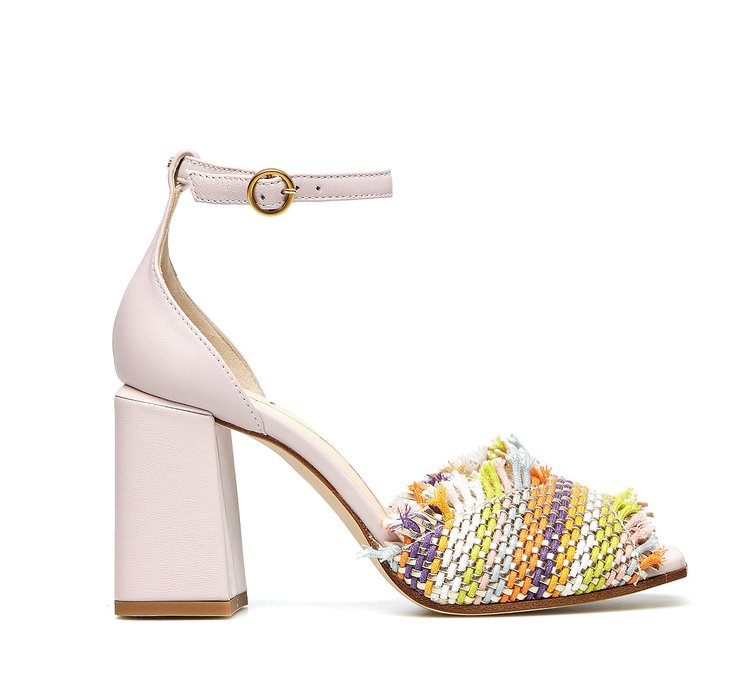 Sandals with soft woven fabric