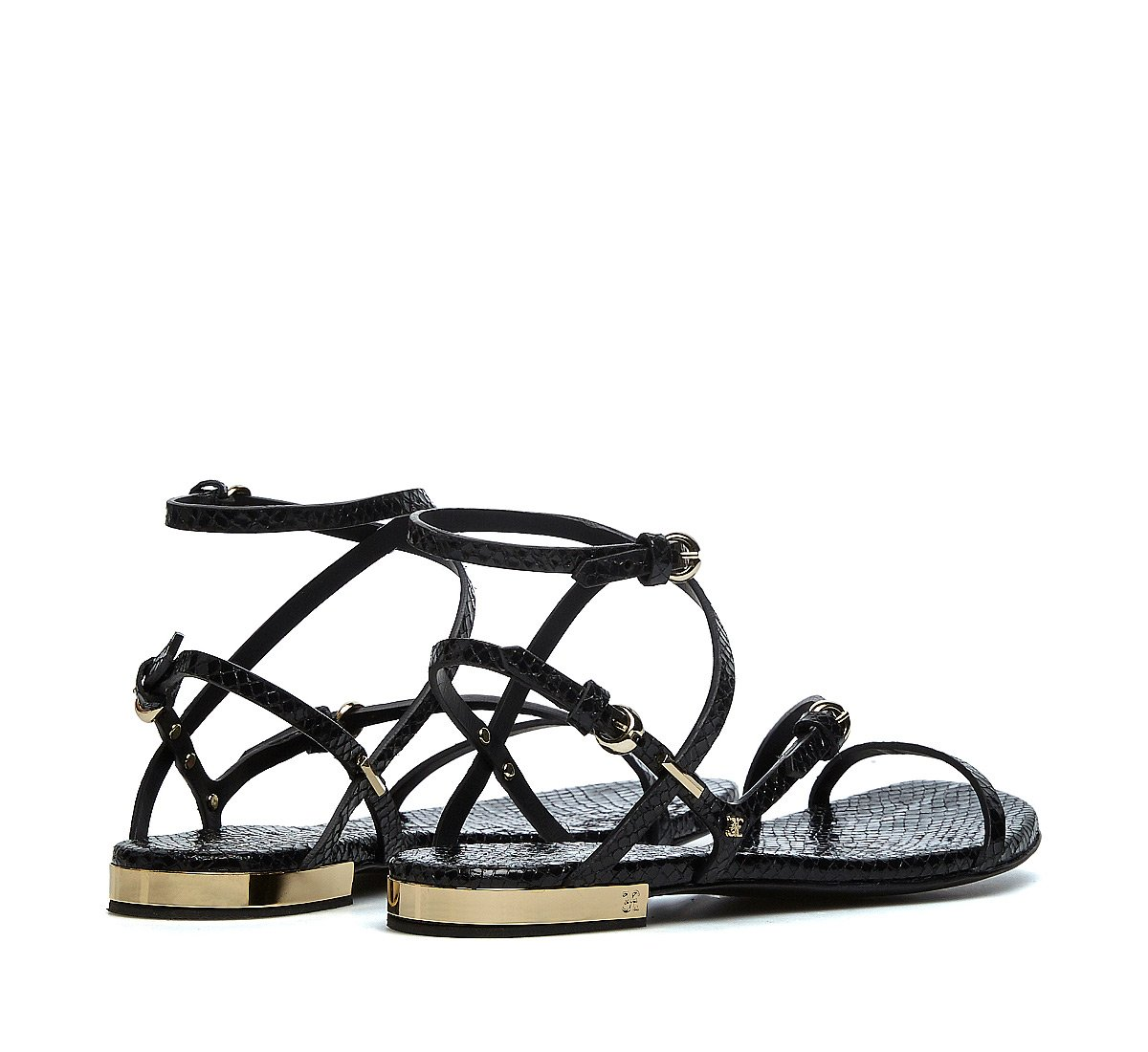 Reptile-effect sandals