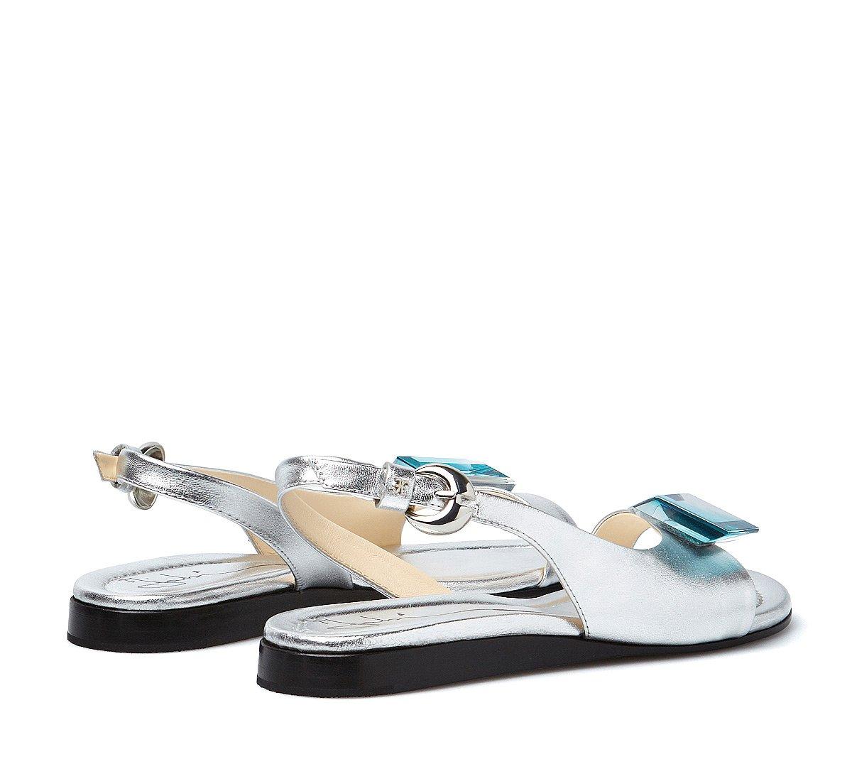 Exquisite calfskin sandals with plexi stone