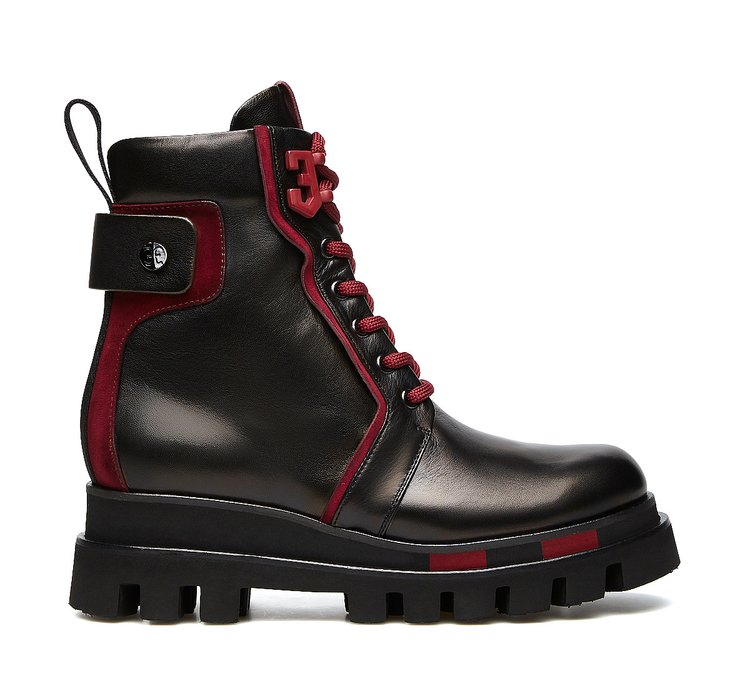 Fabi combat boots in ultra-soft nappa leather