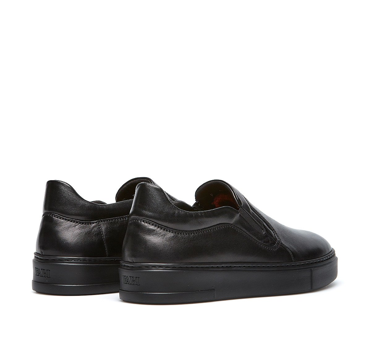 Calfskin slip-ons with warm sheepskin lining