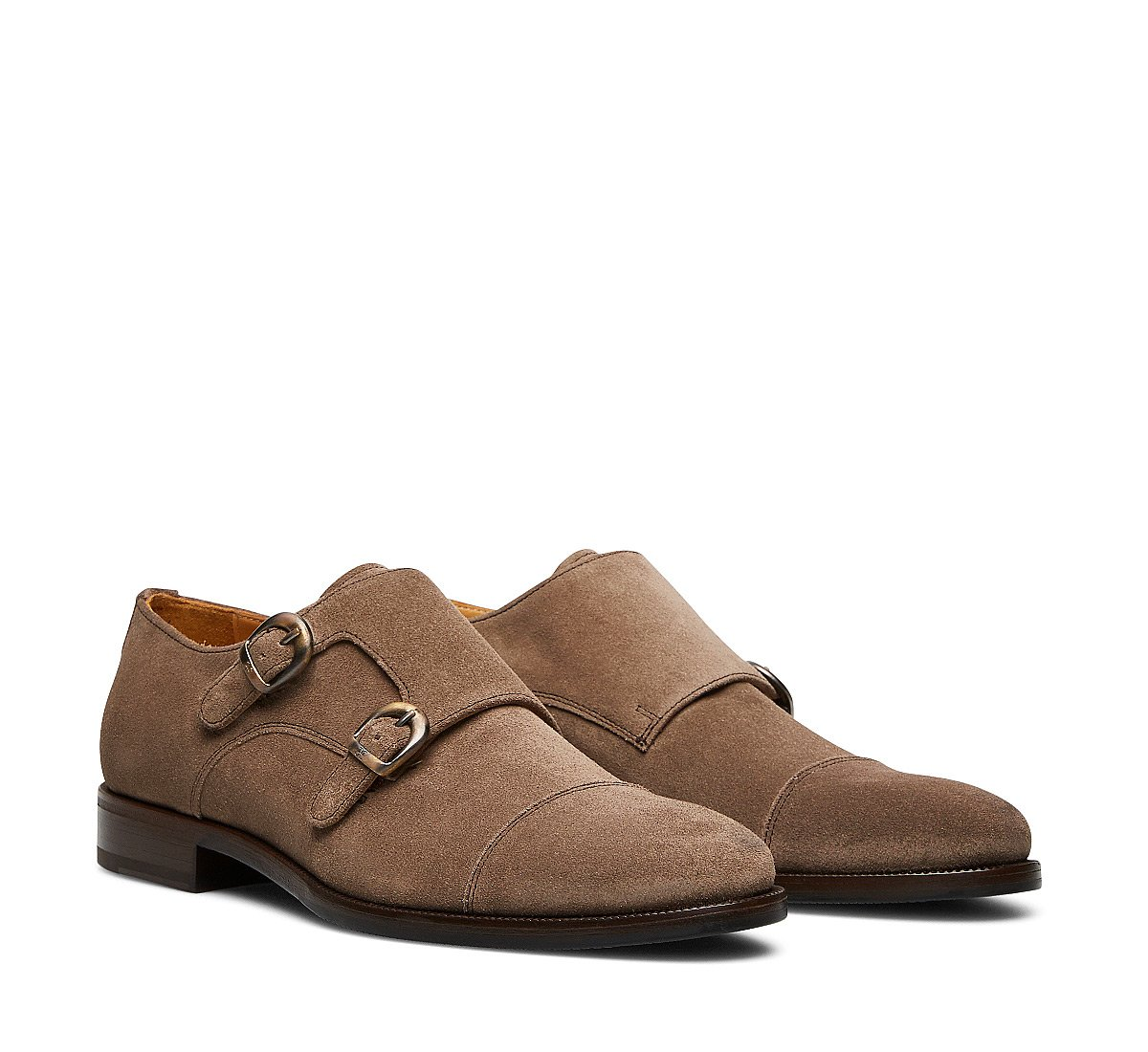 Double monk strap suede shoes