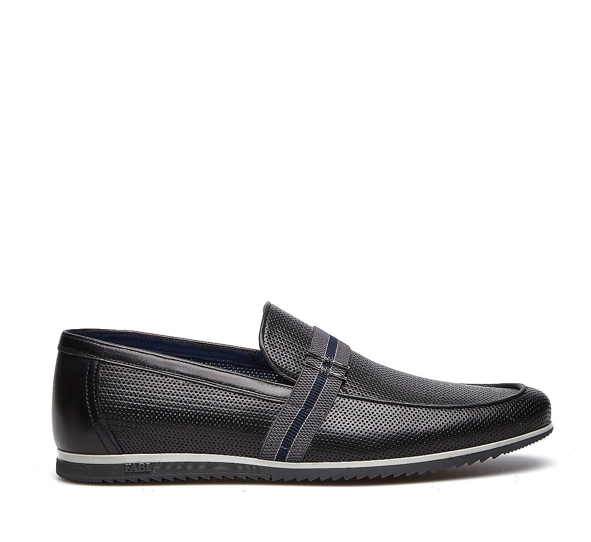 Perforated calfskin moccasins