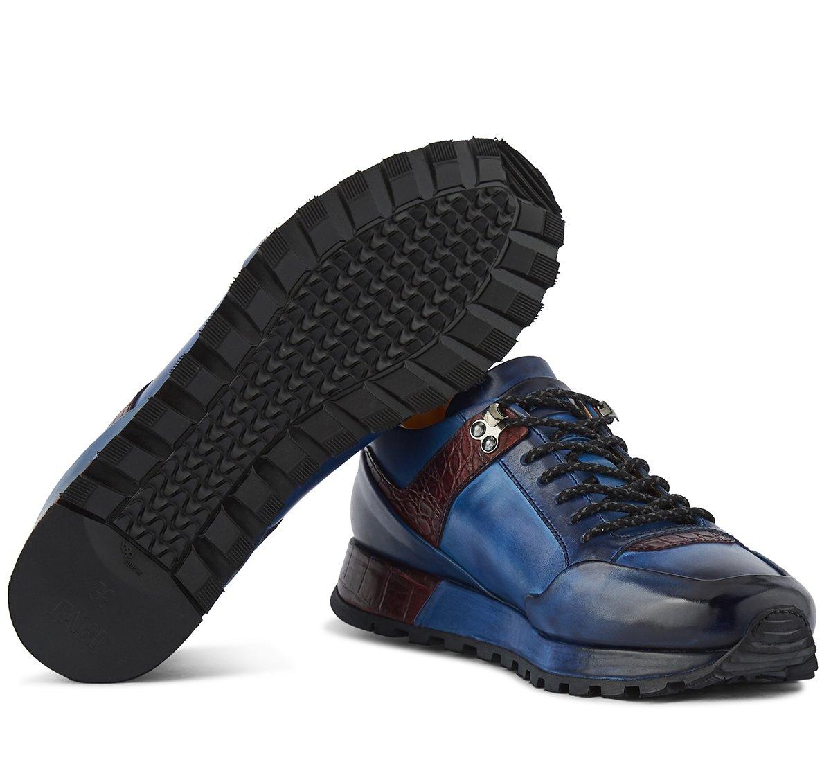 Sneaker in vitello decolorato e invecchiato a mano