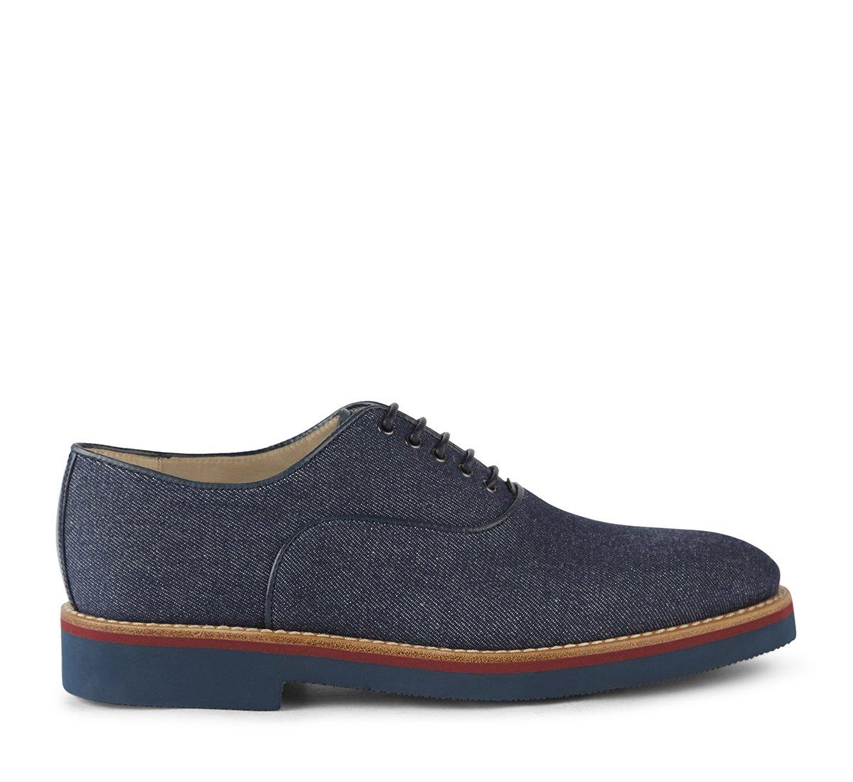 Туфли на шнуровке из джинсовой ткани