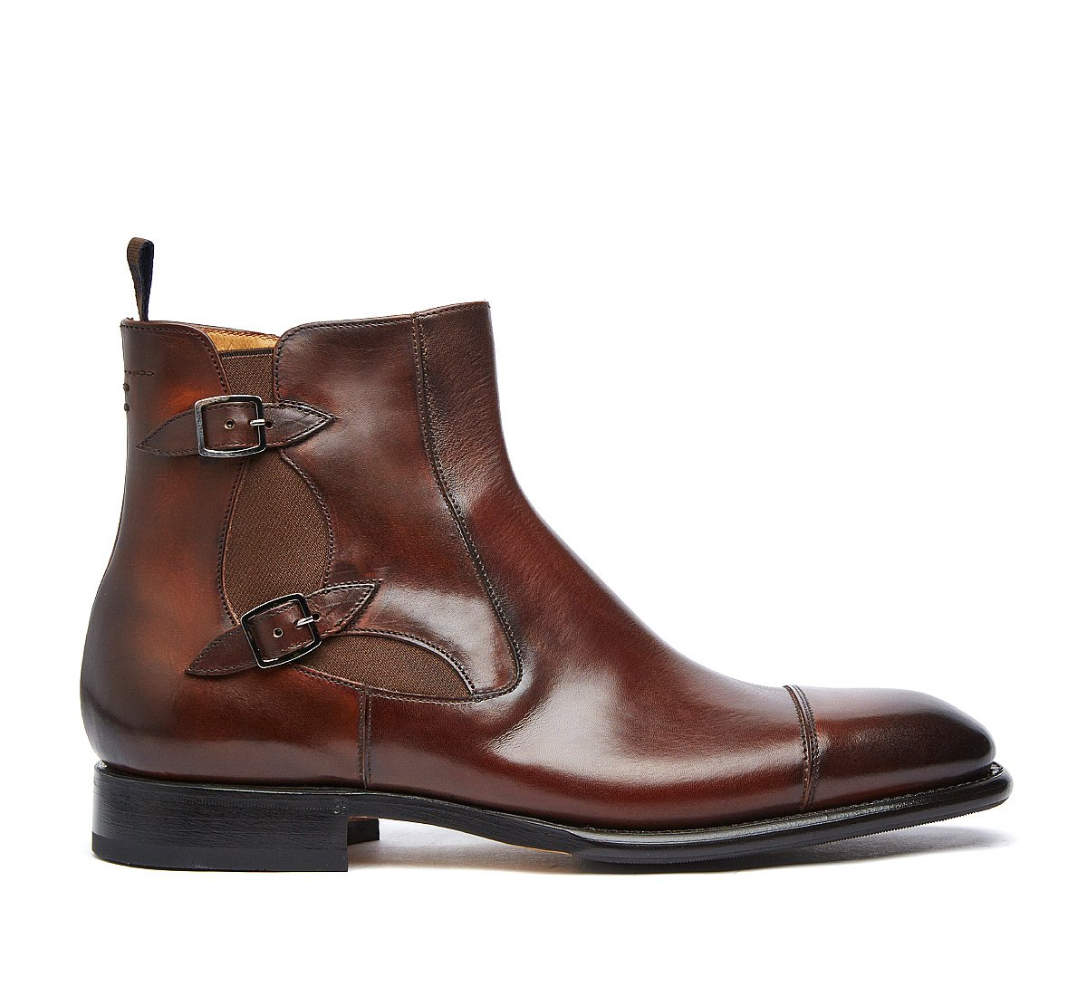 Beatle boot Flex Goodyear with double buckle in luxury calf leather
