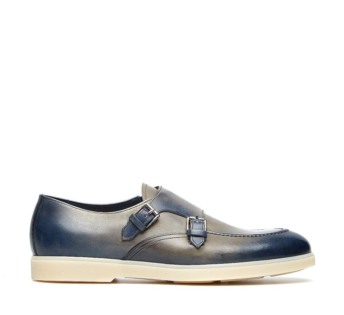 Fabi Flex double monk-strap shoes in exquisite calfskin