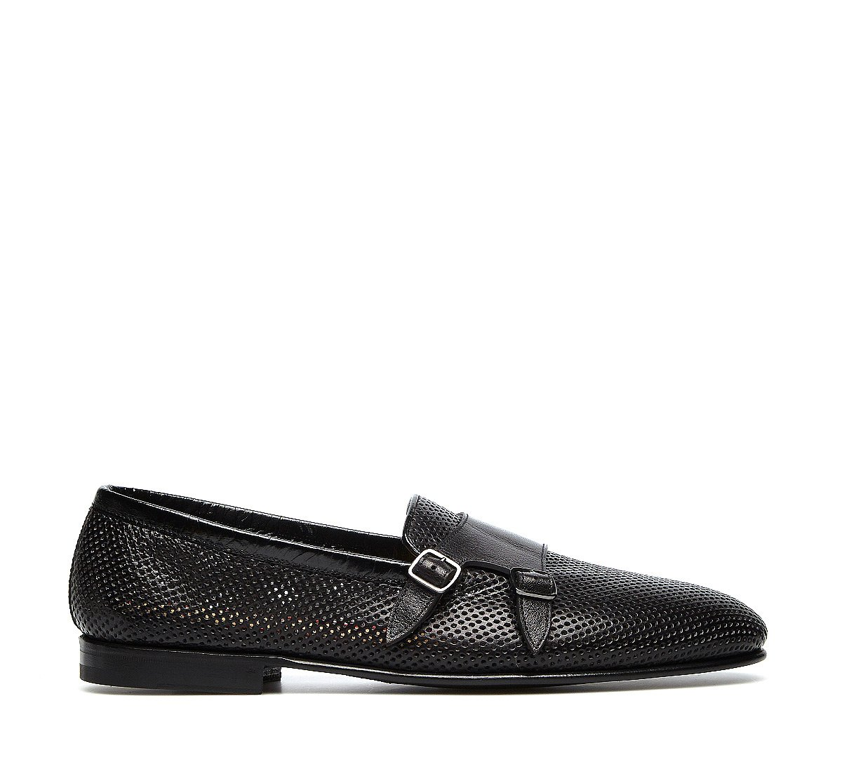Double-buckle moccasins in exquisite calfskin, constructed using the Goodyear process