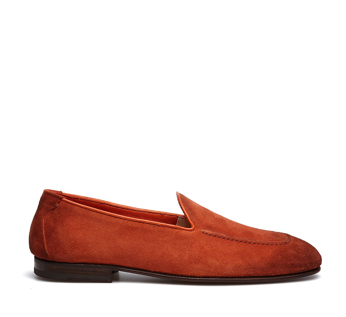 Reversed deerskin moccasins with reverse Goodyear construction