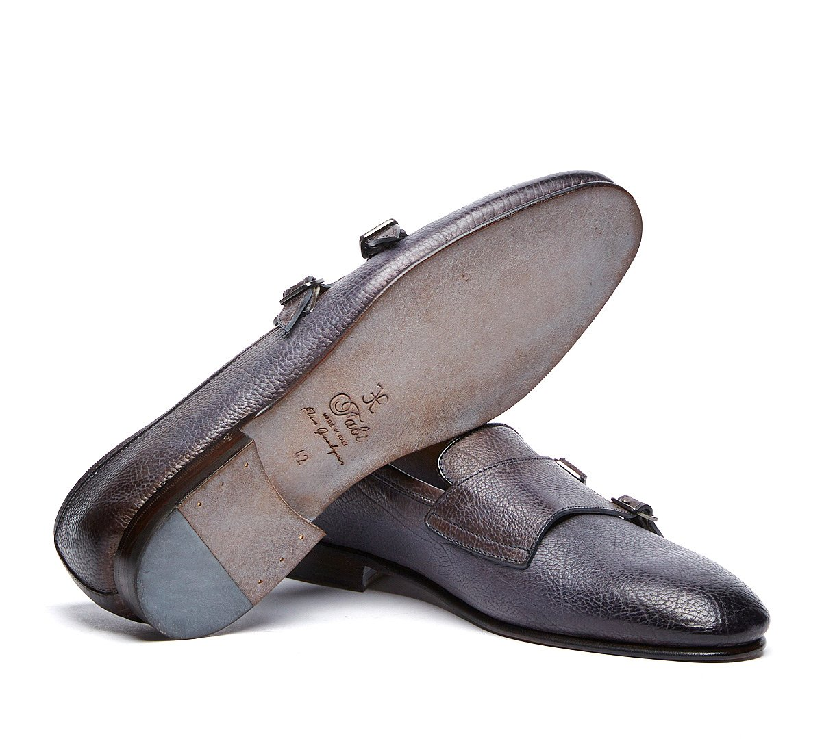 Flex Goodyear double monk calfskin shoes