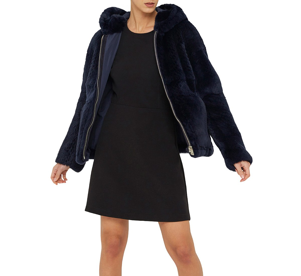 Genuine fur coat with hood