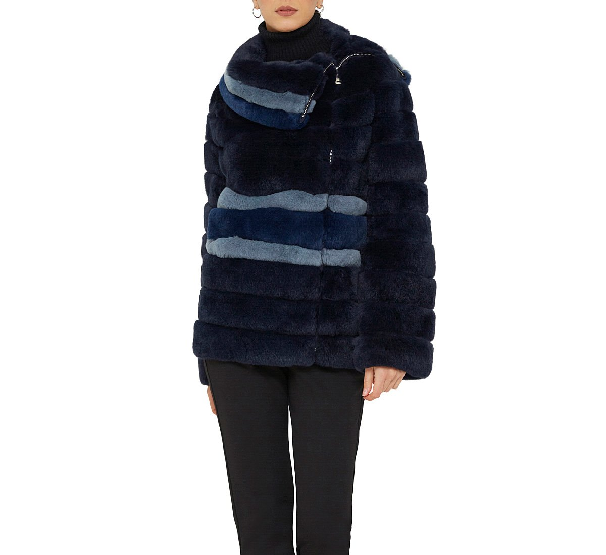 Genuine fur coat with hood