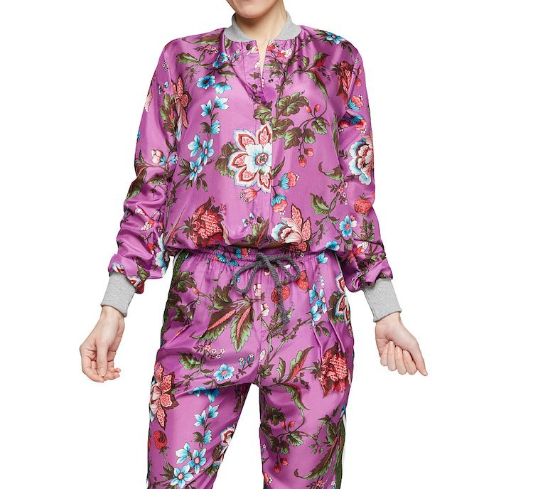 Bomber jacket with silk flowers
