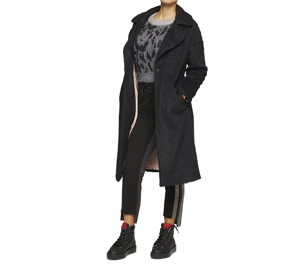 Loose fit coat in wool and fabric